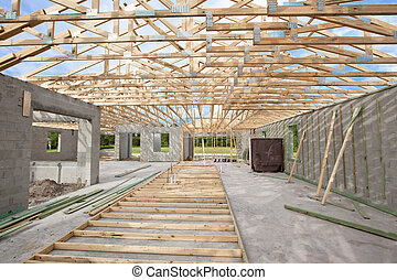 New Construction roof truss - New Construction Cement Block...