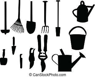 Garden tools silhouette - vector