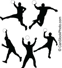 Handball silhouette collection vector