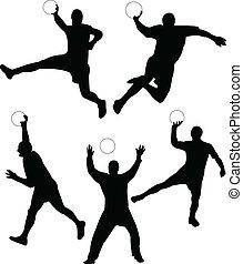 Handball silhouette collection vector