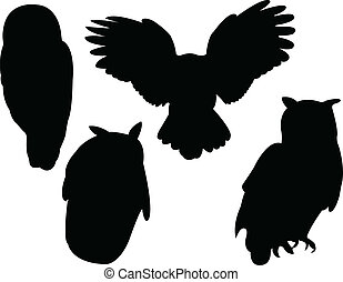 Owl collection silhouette - vector