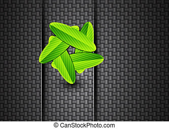 Leaves on carbon background - Vector illustration for your...