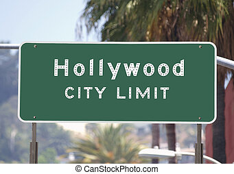 Hollywood City Limits Sign - Hollywood city limits sign with...