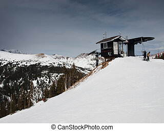 Chairlift at the Loveland ski resort, Colorado.
