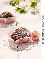 Chocolate cakes on the table