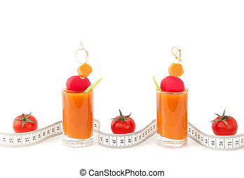 Fresh juice and tape measure background - Fresh vegetable...