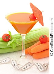 Tasty cocktail with vegetables, concept of beauty and diet....