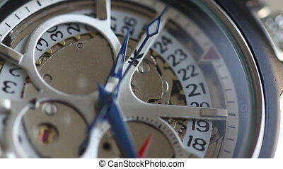 Close up of clicking wrist watch