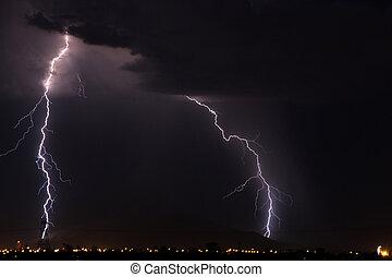 Night Lighning - Lightning over the mountains near Tucson AZ