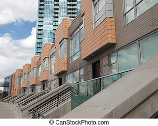 Row of Townhouses - Row of contemporary townhouses near...