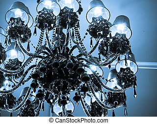 Chandelier in Clock Tower on 16th Street Mall in Denver,...