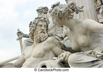 Danube and Inn - Detail of Pallas-Athene fountain in front...