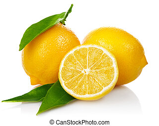 fresh lemons with cut and green leaves isolated on white...