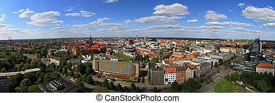 Hannover - Aerial panorama of sunny Hanover city Germany