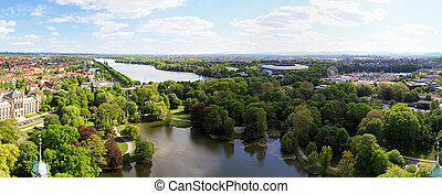 Hannover lake - Aerial view of lake and park in Hannover