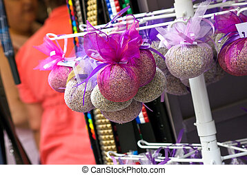 Bags with lavender on market place