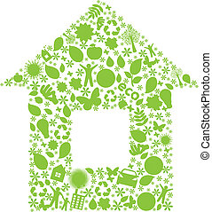 Eco House, Isolated On White Background, Vector Illustration...
