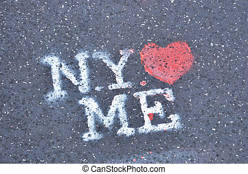 New York loves me stencil on the pavement