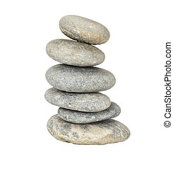 A stack of slightly off-balanced zen stones isolated on white background.
