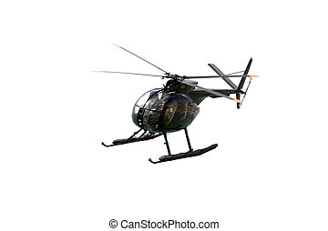 Black Military Helicopter - Hughes 369HM helicopter of the...