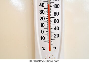 One More Hot Summer! - Thermometer reading on the wall in...