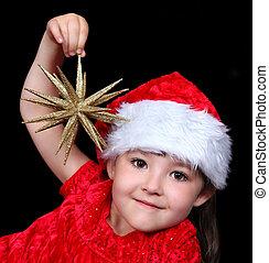 金, 星, 装飾, 隔離された, 衣装, 黒, 女の子, 遊び, 愛らしい, クリスマス