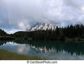 Mount Rundle Rainbow - A beautiful rainbow and stormy clouds...