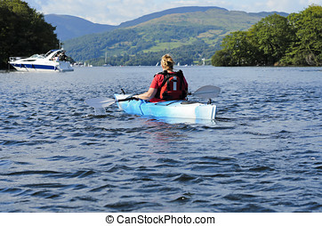 Kayaking on Lake Windermere - Female kayaking on Lake...