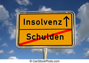 German road sign debt and bankruptcy with blue sky and white...