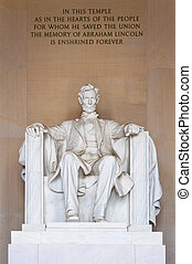 Abraham Lincoln memorial - Statue of Abraham Lincoln in...