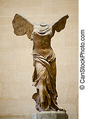Winged victory of Samothrace, second century B.C. marble...