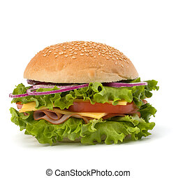 Junk food hamburger - Big appetizing fast food sandwich with...