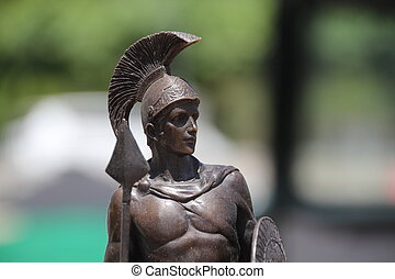 foreground statue of a Roman warrior - a foreground statue...