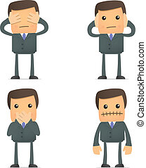 Blind Deaf Mute - set of funny cartoon businessman in...