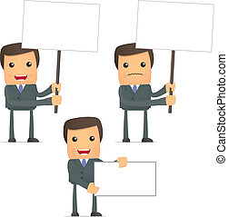funny cartoon businessman holds a banner