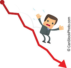 funny cartoon businessman falls from the chart - set of...