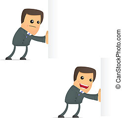 funny cartoon businessman pushes an empty block - set of...
