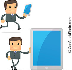 funny cartoon businessman with a laptop
