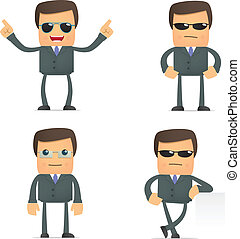 funny cartoon businessman in glasses - set of funny cartoon...
