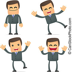 businessman dancing and jumping from joy - set of funny...