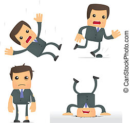 funny cartoon businessman in a dangerous situation - set of...