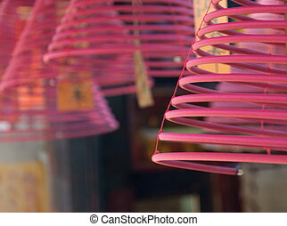 Spiral incense sticks. Hong Kong. - Spiral incense sticks...