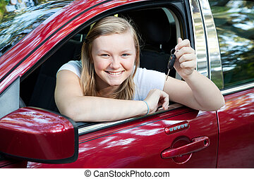 Beautiful Teen Girl with New Car - Beautiful blond teenage...