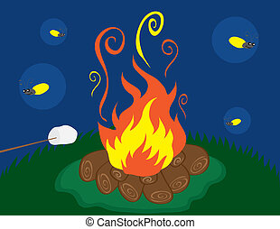 Campfire with Fireflies - Campfire with marshmallow and...