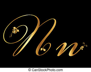 Golden vector letter N with roses collection