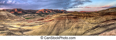 Painted Hills in Oregon Panorama - Painted Hills in John Day...