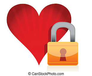 red heart with lock over white background