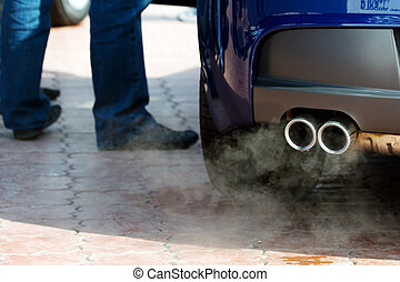 Exhaust pipe of a car and waste gases