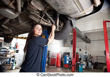kobieta, mechanik, portret