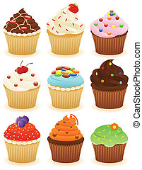 Cupcakes !! - Set of cupcakes. CMYK with global colors...